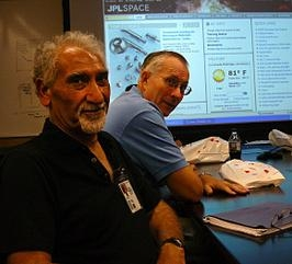 Dr. Robert C. Nelson, right, is shown during a visit to NASA's Jet Propulsion Laboratory in Pasadena, Calif. with the Interagency Nuclear Safety Review Panel coordinator for the U.S. Department of Defense.