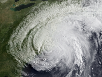 Hurricane Irene made landfall at approximately 7:30 am EDT near Cape Lookout, North Carolina with maximum sustained winds of 85 mph (Category 1). This NOAA GOES-13 satellite image captures Irene's landfall moment. | Image courtesy of NOAA