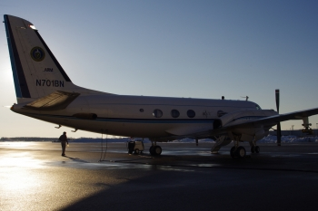 This Gulfstream-1 research plane carries a payload of more than 30 scientific instruments to measure smoke from forest fires and other biomass burns. | Image courtesy of Pacific Northwest National Laboratory.
