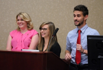 Team Atom presents its proposal for a nuclear power plant, which earned Shawnee State University students second place in the competition. From left: Rebekah Keys, Rebecca Legge, and Thomas Carbonari.