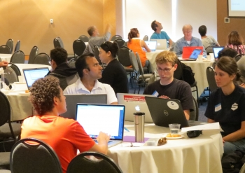 Participants at the Los Angeles Apps for Energy Hackathon build what could be the next great energy app. | Photo courtesy of UCLA.