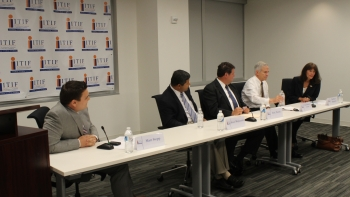Principal Deputy Director Eric Toone, former ARPA-E Director Arun Majumdar, the Honorable Bart Gordon and IBM Research Senior Director Kathleen Kingscott discuss the future of energy innovation at an ITIF event on August 2.   Energy Department photo.