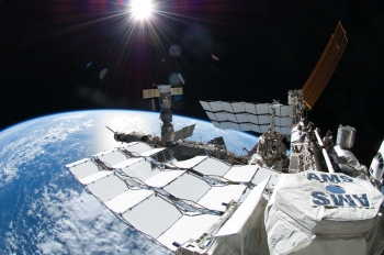 The Alpha Magnetic Spectrometer experiment is a particle detector which was lofted to the International Space Station onboard the Space Shuttle Endeavour about two years ago. | Image courtesy of NASA.