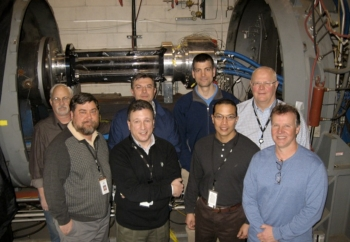 The ICES team from Alliant Techsystems and ACENT Laboratories (L to R): Fred Gregory, Andy Robertson, Tony Castrogiovanni, Florin Girlea, Vincenzo Verrelli, Bon Calayag, Vladimir Balepin, Kirk Featherstone.   Courtesy of the ICES team.