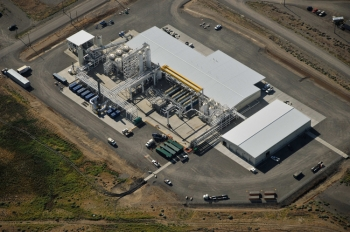 An aerial view of the 200 West Pump and Treat System at the Hanford site.