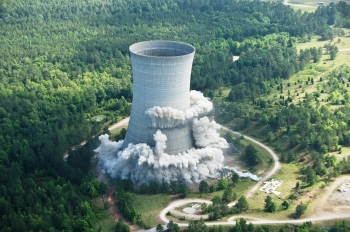 American Recovery and Reinvestment Act workers at the Savannah River Site imploded the 455-foot-tall K Reactor Cooling Tower in May 2010.