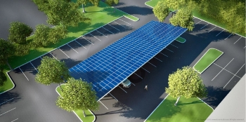 Concept drawing of the Agua Caliente Band's Heritage Plaza Parking Lot Project, which involves installing solar arrays, partly funded by a DOE grant, on carport shade structures. Photo from Larry Fossum, Agua Caliente Band of Cahuilla Indians.