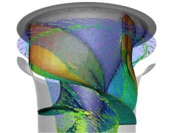 A computer simulation of the Alden Fish-Friendly Turbine.