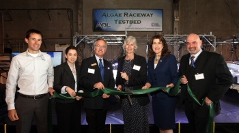 (From left to right) BETO Technology Manager Daniel Fishman, and Program Manager Alison Goss Eng, Livermore Mayor John March, Sandia National Laboratories Vice President Marianne Walck, California State Assembly Catharine Baker, and Chief Scientific and Technology Officer and Vice President of the Deconstruction Division at the Joint BioEnergy Institute Blake Simmons cut the ribbon for the new Algae Raceway Testing Facility. Photo courtesy of Dino Vournas/Sandia National Laboratories.