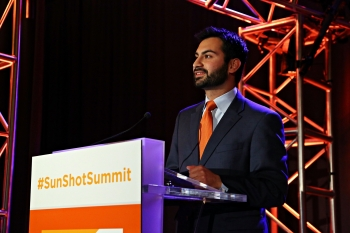 Ali Zaidi, Deputy Director for Energy Policy, The White House Domestic Policy Council delivers keynote at the 2014 SunShot Grand Challenge Summit.   Photo courtesy of the SunShot Initiative.