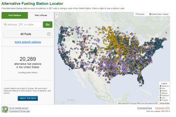 The Alternative Fueling Station Locator tool, which recently hit 20,000 locations listed, offers drivers several ways to search for and sort information: by location, such as near a specific address or zip code, or by vehicle technology.