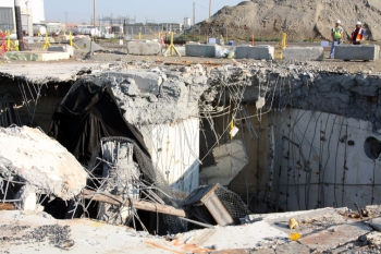 The underground demolition occurred at the final reactor cleanup site in Hanford's 300 Area, a former industrial complex along the west bank of the Columbia River.