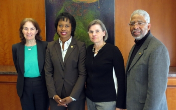 Joining Director Dot Harris (second from left) were Marlene Kaplan, the Deputy Director of Education and director of EPP, National Oceanic and Atmospheric Administration, Claudia Rankins, a Program Officer with the National Science Foundation and Jim Stith, the past Vice-President of the American Institute of Physics Resources.