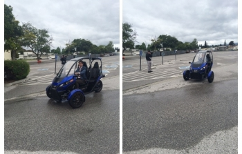 LPO Executive Director Mark McCall participates in a product demonstration of an electric vehicle designed and manufactured by Arcimoto.