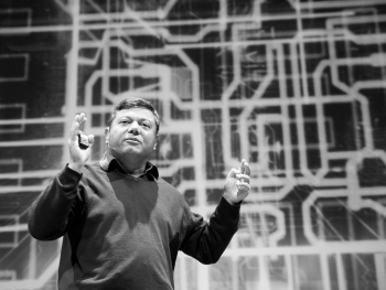 """ARPA-E Director Dr. Arun Majumdar speaks to the audience at the TEDx MidAtlantic Conference in Washington, DC on Oct. 29, 2011. 