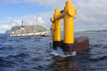 "Energy Department-supported ""Azura"" wave energy converter is installed at a U.S. Navy test site in Hawaii. 