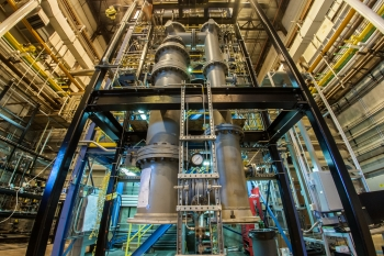 The National Energy Technology Laboratory's chemical looping reactor, above, is the only one of its kind in the Western Hemisphere, and is pioneering the development of a promising low-carbon technology.   Photo courtesy of the National Energy Technology Laboratory.