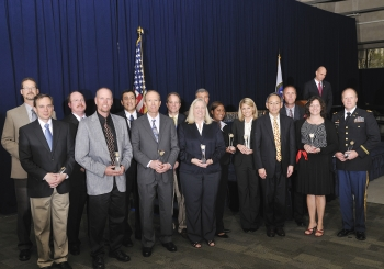 The B53 Weapon System Dismantlement Program Team with Secretary Steven Chu as they receive a Secretary of Energy Achievement Award. | Photo courtesy of the Energy Department