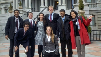 Pictured here are eight of the 10 members of MIT's team who competed in last year's Better Buildings Case Competition. From left to right: Neheet Trivedi, Michael Zallow, Patrick Flynn, Elena Alschuler, Kate Goldstein, Brendan McEwen, Nikhil Nadkarni and Nan Zhao. Not pictured: Christopher Jones and Wesley Look.   Photo courtesy of Elena Alschuler.