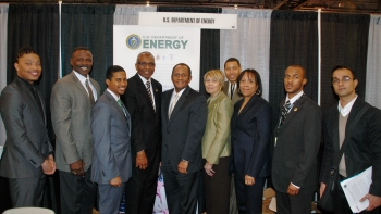 Associate Deputy Secretary Williams at the Black Engineer of the Year Conference, joined by Dean Deloach of Morgan State University, Malika Hobbs with the National Nuclear Security Administration and Annie Whatley of the Office of Economic Impact and Diversity. | Office of Economic Impact and Diversity file photo.