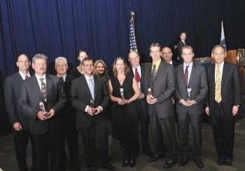 The BA-350 Spent Fuel Disposition Program Team with Secretary Steven Chu as they receive a Secretary of Energy Achievement Award. | Photo courtesy of the Energy Department