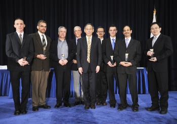 The RHIC-ATLAS Computing Facility Team with Secretary Steven Chu as they receive a Secretary of Energy Achievement Award. | Photo courtesy of the Energy Department
