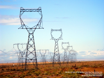 Power lines carry electricity across Washington State.   Photo courtesy of the Energy Department.