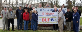 BWCS employees from all departments of the DUF6 project at the Portsmouth site come together to mark five years without a lost-time accident.