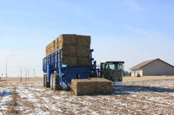 The bale picking truck follows the self-propelled baler, picking up and packaging the bales into packs before transferring them to an attached flatbed.   Photo courtesy of Antares Group.