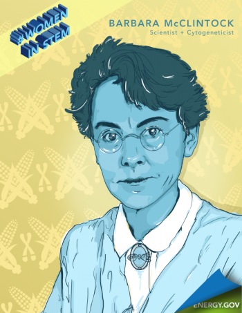 """Barbara McClintock was a pioneer in the field of cytogenetics and became the first woman to win a solo Nobel Prize in Physiology or Medicine. Graphic by <a href=""""/node/2349957"""">Cort Kreer</a>."""