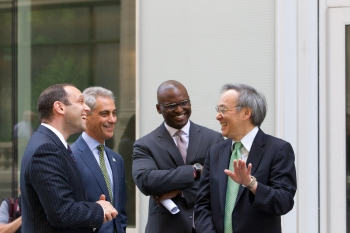 Secretary Chu joined Chicago Mayor Rahm Emanuel to announce the city's participation in the Better Buildings Challenge.   Photo by Brooke Collins.