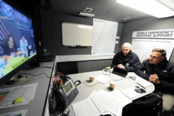 Deputy Assistant Secretary for Infrastructure Security & Energy Restoration Bill Bryan speaks with FEMA in the wake of Hurricane Sandy