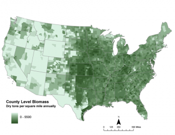 Total potential biomass resources by county in the contiguous U.S. from the baseline scenario of the Update (Figure 6.4, page 159)   Map from Billion-Ton Update