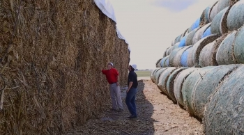 """Farmer Bruce Nelson and a representative from biofuels company POET-DSM stand between square and round bales of corn stover stock piled outside of POET-DSM's Project LIBERTY cellulosic ethanol biorefinery. Selling the corn plant residue after their corn harvest has generated a new revenue stream for many farmers, including Bruce. <a href=""""https://www.youtube.com/watch?v=GU0Cu45cLT4"""" target=""""_blank"""">Watch a video segment</a> about Bruce's story at the beginning of the film """"Bioenergy: America's Energy Future."""""""