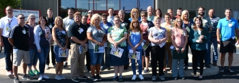 A teachers group organized by the Buckeye Hills Career Center prepares for a driving tour of the Portsmouth Site.