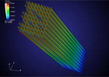 Simulated three-dimensional fission power distribution of a single 17x17 rod PWR fuel assembly. | Photo courtesy of the Consortium for Advanced Simulation of Light Water Reactors (CASL).