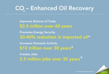 Greater application of CO2-EOR could yield a significant boost to the U.S. economy, including increased economic activity, improved balance of trade, job creation, and reduced oil imports.