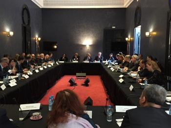 Energy Secretary Moniz (far-center-right) and CEIC Director Malhotra (far-center-left) listen to Global Energy Investors detail challenges and opportunities at COP22 (credit DOE).