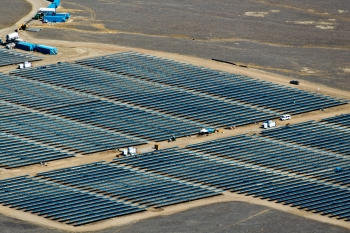 The California Valley Solar Ranch produces clean, renewable electricity at the scale of traditional power plants.   Photo courtesy of SunPower.
