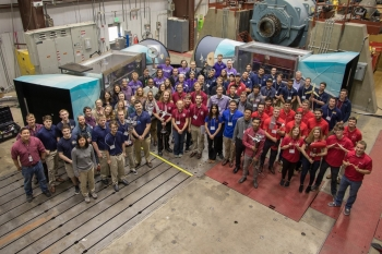Group photo of Collegiate Wind Competition 17 teams and organizers at the National Wind Technology Center.  Photo Courtesy | Lee J. Fingersh, NREL