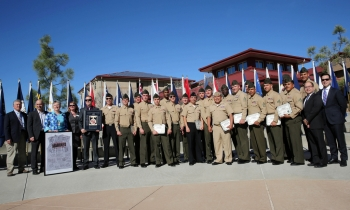 Marines from Camp Pendleton in California graduated from the Energy Department's solar job training program in February. | Photo courtesy of U.S. Marine Corps.