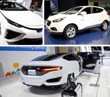 Toyota Mirai FCEV (top left), Hyundai Tucson FCEV (top right), and Honda's concept of its FCEV (bottom)—all showcased during the 2015 Washington Auto Show.   Photos by Sarah Gerrity, Energy Department