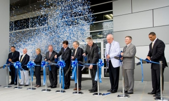 Secretary Chu joins local officials and dignitaries for Celgard's ribbon-cutting. | Photo courtesy of Celgard