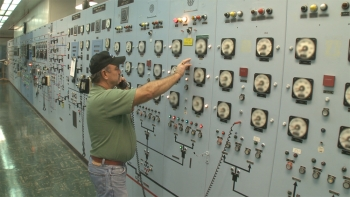 The switch to the last operating cell at the uranium enrichment facility was manned by Operator Russ Nickell during the shutdown at midday May 30, 2012 in the X-326 Process Building at the Portsmouth site in Piketon.