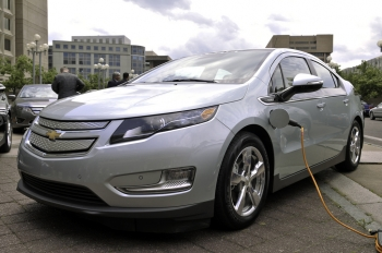 Plug-in electric vehicles, such as the Chevrolet Volt, run on electricity for short trips but use gasoline for longer trips. | Department of Energy photo