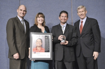 Under Secretary for Nuclear Security Tom D'Agostino, Sustainability Performance Office Director Jennifer MacDonald, Chris Evans and Deputy Secretary of Energy and Daniel Poneman at the 2011 Sustainability Awards.   Image courtesy of the Energy Department