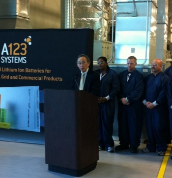 Secretary Chu speaks at the A123 Systems lithium-ion battery manufacturing plant in Romulus, Michigan, while employees look on. | Photo Courtesy of Damien LaVera, Energy Department