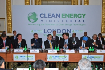 """Prime Minister David Cameron, Secretary of State Edward Davey, Energy Department  Secretary Steven Chu and Minister of State Greg Barker at the third Clean Energy Ministerial event in London on 26 April 2012. 
