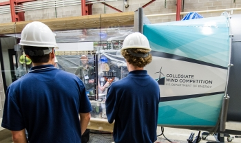Competitors test their turbines in a wind tunnel at the Collegiate Wind Competition 2015, held at the National Renewable Energy Laboratory's National Wind Technology Center just south of Boulder, Colorado. (Photo by Dennis Schroeder / NREL)