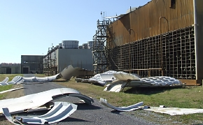 A cooling tower adjacent to a process building sustained damage when a tornado struck the Paducah Gaseous Diffusion Plant site Nov. 17.